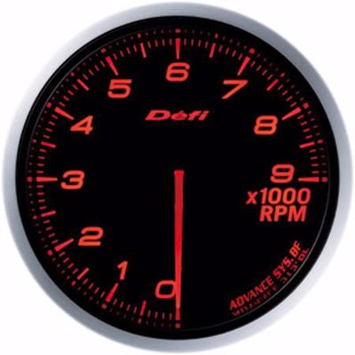 Picture of Defi Advance BF Tacho/REV 0-9000 RPM Gauge 60mm AmberRed Illumination