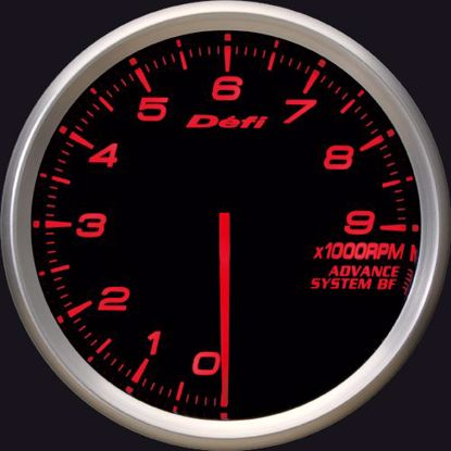 Picture of Defi Advance BF Tacho/REV 0-9000 RPM Gauge 80mm AmberRed Illumination