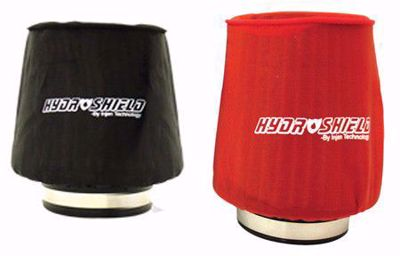 """Picture of Injen Hydroshield Pre-Filter Water Repellant Cover UNIVERSAL 6""""BASE X 6 7/8""""Tall X 5 1/2""""TOP RED/BLACK"""