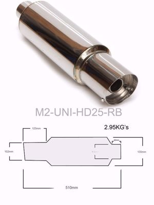 "Picture of M2 300mm MUFFLER 2.5""I/L 100mm TIP"